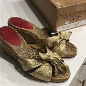 Authentic Christian Louboutin gold wedges 37